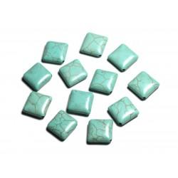 10pc - Perles de Pierre Turquoise synthèse - Losanges 18x14mm Bleu Turquoise - 4558550087973
