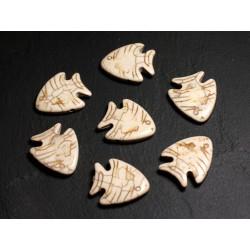 10pc - Perles de Pierre Turquoise synthèse - Poissons 26mm Blanc crème - 4558550088130