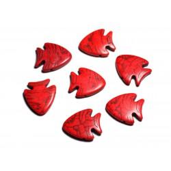 10pc - Perles de Pierre Turquoise synthèse - Poissons 26mm Rouge - 4558550088161