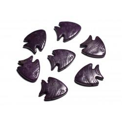 10pc - Perles de Pierre Turquoise synthèse - Poissons 26mm Violet - 4558550088185