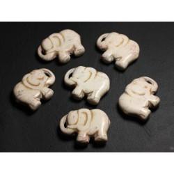 1pc - Grande Perle Pendentif en Pierre Turquoise synthèse - Elephant 40mm Blanc crème - 4558550087843