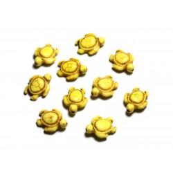 10pc - Perles de Pierre Turquoise synthèse - Tortues 19x15mm Jaune - 4558550087751