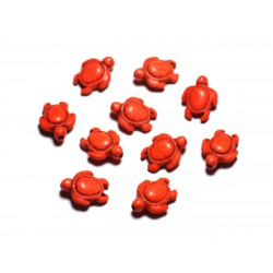 10pc - Perles de Pierre Turquoise synthèse - Tortues 19x15mm Orange - 4558550087768