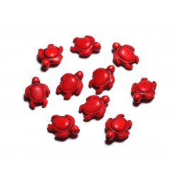 10pc - Perles de Pierre Turquoise synthèse - Tortues 19x15mm Rouge - 4558550087775