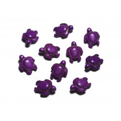 10pc - Perles de Pierre Turquoise synthèse - Tortues 19x15mm Violet - 4558550087799