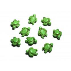 10pc - Perles de Pierre Turquoise synthèse - Tortues 19x15mm Vert - 4558550087805