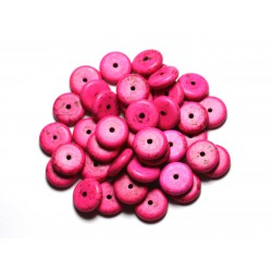 20pc - Perles de Pierre - Turquoise synthèse Rondelles 12mm Rose Fluo - 4558550082497