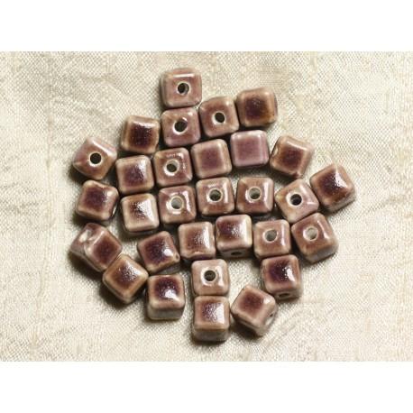 10pc - Perles Céramique Cubes 10mm Perçage 3mm Marron Violet 4558550005748
