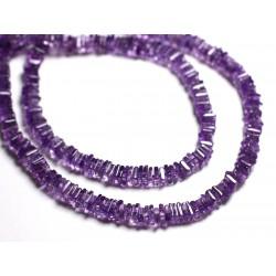 10pc - Perles de Pierre - Améthyste Carrés rondelles Heishi 4-5mm - 4558550087713