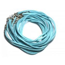 5pc - Colliers Tours de cou 45cm Suédine Bleu Turquoise 2x1mm 4558550011275