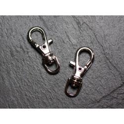 50pc - Mousquetons Porte Clefs Métal Argenté Rhodium 37mm 4558550030306