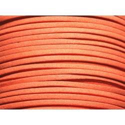 5 mètres - Cordon Lanière Suédine 3x1.5mm Orange Capucine - 4558550000415