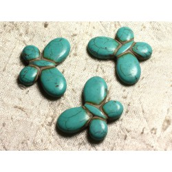 4pc - Perles Turquoise synthèse Papillons 35x25mm Bleu Turquoise 4558550012081