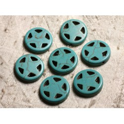 10pc - Perles Turquoise synthèse Cercle Etoile 20mm Bleu Turquoise 4558550011695