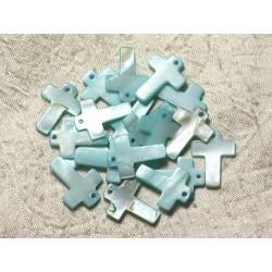 4pc - Perles Breloques Pendentifs Nacre Croix 22mm Bleu Turquoise 4558550004956