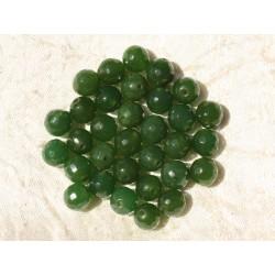 10pc - Perles de Pierre - Jade Boules Facettées 8mm Vert Olive 4558550018007