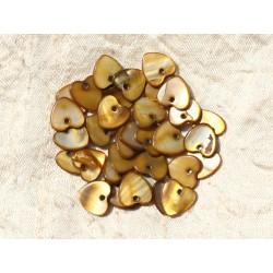 10pc - Breloques Pendentifs Nacre Coeurs 11mm Bronze Marron - 4558550012548