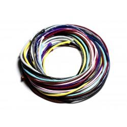 Lot 10 Mètres - Fil Cordon Coton Ciré 2mm Multicolore - 4558550087645