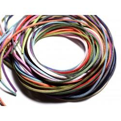 Lot 5 mètres - Cordon Lanière Suédine 3mm Multicolore - 4558550087652