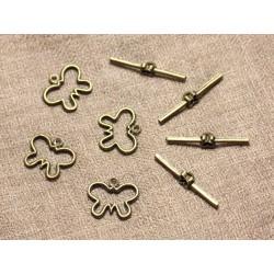 30 sets - Fermoirs Toogle T Métal Bronze Papillons 19mm - 4558550005816