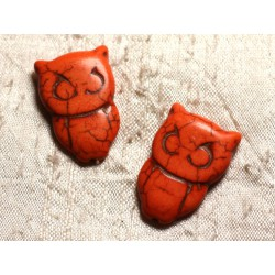 4pc - Perles Turquoise synthèse Chouette Hibou 30x20mm Orange 4558550010025