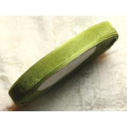 1pc - Bobine 45 mètres - Ruban Tissu Organza Vert kaki Olive 10mm 4558550004482