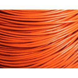 5 mètres - Cordon Cuir Véritable Orange Rond 2mm - 4558550029577