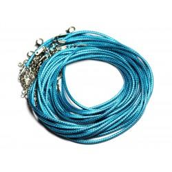 10pc - Colliers Tours de cou 45cm Coton Ciré 2mm Bleu Vert Paon - 4558550080912
