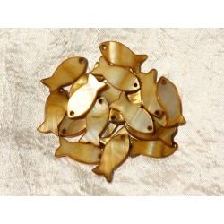 5pc - Perles Breloques Pendentifs Nacre Poissons 23mm Bronze doré 4558550000514
