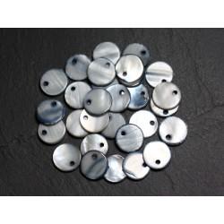 10pc - Perles Breloques Pendentifs Nacre Ronds Palets 11mm Gris Noir 4558550011244