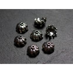 2pc - Coupelles Calottes Argent 925 Fleurs 10x6mm - 4558550086419