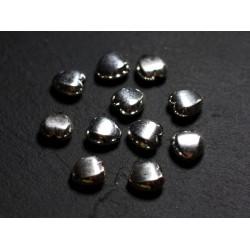 2pc - Perles Argent massif 925 Coeurs Facettés 9mm - 4558550086457