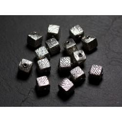 1pc - Perle Argent massif 925 Cube Zébré 9mm - 4558550086464