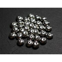 4pc - Perles Argent massif 925 Lisse Rondelles 6x3mm - 4558550086549