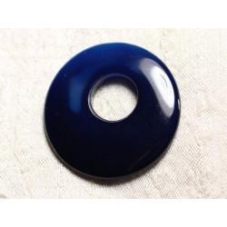 Pendentif Pierre semi précieuse - Agate Bleue Donut 41mm N14 - 4558550086068