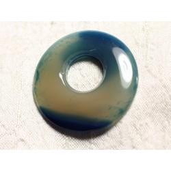 Pendentif Pierre semi précieuse - Agate Bleue Donut 42mm N16 - 4558550086082