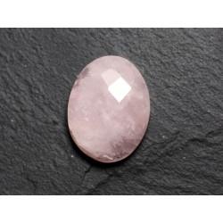 Cabochon Pierre - Quartz Rose Facetté Ovale 20x11mm N9 - 4558550086303