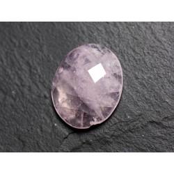 Cabochon Pierre - Quartz Rose Facetté Ovale 21x12mm N10 - 4558550086310