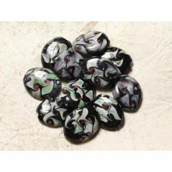 4pc - Perles en Verre Ovales 25x20mm Noir Blanc Vert Rouge 4558550005106