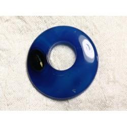 Pendentif Pierre semi précieuse - Agate Bleue Donut 39mm N10 - 4558550086020