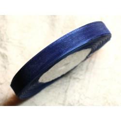 1pc - Bobine 45 mètres - Ruban Tissu Organza Bleu nuit 10mm 4558550007162