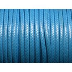 3 mètres - Cordon Coton Ciré 3mm Bleu Azur - 4558550004819