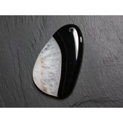 Pendentif en Pierre - Agate et Quartz Noir et Blanc Goutte 62mm N16 - 4558550085641