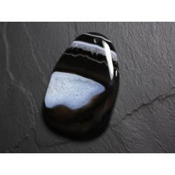 Pendentif en Pierre - Agate et Quartz Noir et Blanc Goutte 60mm N21 - 4558550085696