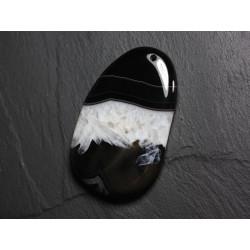 Pendentif en Pierre - Agate et Quartz Noir et Blanc Goutte 63mm N24 - 4558550085726