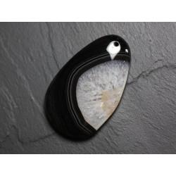 Pendentif en Pierre - Agate et Quartz Noir et Blanc Goutte 58mm N31 - 4558550085795