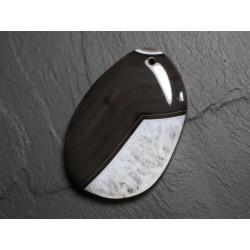 Pendentif en Pierre - Agate et Quartz Noir et Blanc Goutte 58mm N32 - 4558550085801
