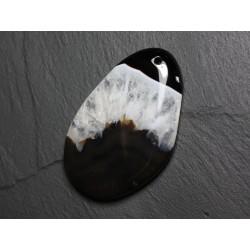 Pendentif en Pierre - Agate et Quartz Noir et Blanc Goutte 59mm N38 - 4558550085863