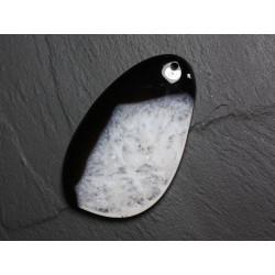 Pendentif en Pierre - Agate et Quartz Noir et Blanc Goutte 61mm N40 - 4558550085887