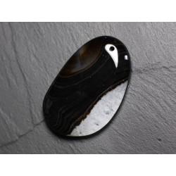 Pendentif en Pierre - Agate et Quartz Noir et Blanc Goutte 56mm N42 - 4558550085900
